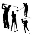 black silhouette of golfer on white background vector image vector image