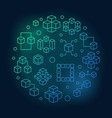 blockchain technology round bright outline vector image
