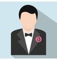 Bridegroom flat icon vector image