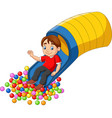 cartoon happy boy playing in playground vector image