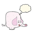 cartoon pink elephant with thought bubble vector image vector image