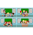 Children working in the classroom vector image vector image