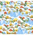 Christmas pattern with houses vector image vector image