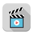Clapboard flat app icon with long shadow vector image vector image