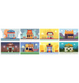 colorful cafe and restaurant building banner set vector image vector image