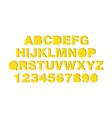 craft paper cut yellow shapes font paper art vector image