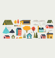 cute houses trendy rural hand drawn landscape vector image vector image