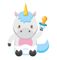cute little unicorn with pacifier bacharacter vector image vector image