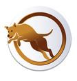 dog jump over hoop logo vector image vector image