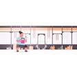 fat obese woman doing exercises with kettlebell vector image