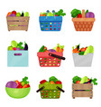 flat set of wooden boxes bowl containers vector image vector image