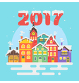 flat style of christmas winter city vector image vector image
