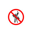forbidden climbing man icon can be used for web vector image vector image