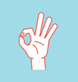 gesture okay sign stylized hand with index and vector image vector image