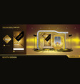 golden booth design in vector image