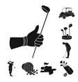 golf and attributes black icons in set collection vector image