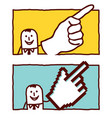 hand drawn cartoon characters - pointing hands vector image