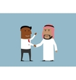 Handshake of american and arabian businessmen vector image vector image