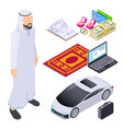 isometric muslim arab man and traditional vector image vector image