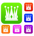 kingly crown set color collection vector image vector image