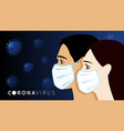 man and women faces in medical mask vector image vector image
