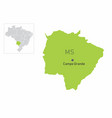 mato grosso do sul state map vector image vector image