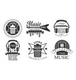 music records studio retro labels music vector image