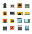 oven stove furnace fireplace icons set flat style vector image
