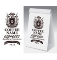 paper package with label for coffee beans vector image vector image
