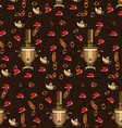 pattern samovar cups of tea and bagels for tea vector image vector image