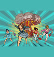 people run away from a nuclear explosion vector image