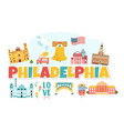 philadelphia banner with landmarks and symbols vector image