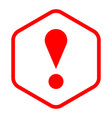red sexangle exclamation mark icon warning sign vector image vector image