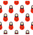 russian doll matryoshka red seamless pattern vector image
