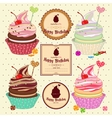 set cakes cupcakes vector image