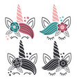 set colorful and monochrome unicorn faces vector image vector image