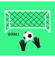 soccer and football goal with ball and hands eps10 vector image vector image