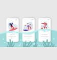 surfing sport recreationmobile app page onboard vector image vector image