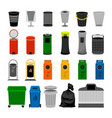 trash cans colorful icons collection vector image vector image