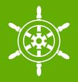 wheel of ship icon green vector image vector image