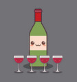 wine bottle and cup kawaii character vector image