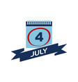 4 july calendar with ribbon vector image