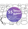 55 hand-drawn speach bubbles in vector image