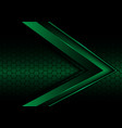abstract green metallic arrow on hexagon mesh vector image vector image