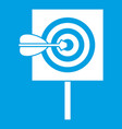 arrow in the center of target icon white vector image vector image