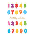 balloon and candle colorful numbers birthday vector image