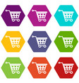 basket on wheels icon set color hexahedron vector image vector image
