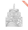 big cake with candle with floral doodle ornament vector image vector image