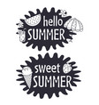 black and white summer lettering compositions vector image vector image