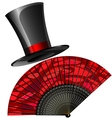black top hat and red fan vector image vector image